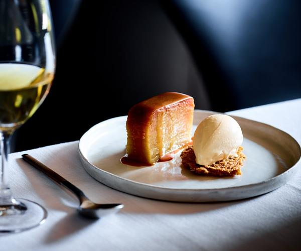 Cutler & Co's apple terrine with burnt-butter ice-cream, oat crumb and butterscotch sauce