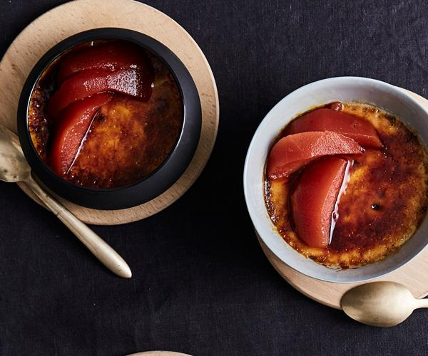 "**[Ramblr's baked muscat and brioche custards with quince](https://www.gourmettraveller.com.au/recipes/chefs-recipes/ramblrs-baked-muscat-and-brioche-custards-with-quince-9324|target=""_blank""