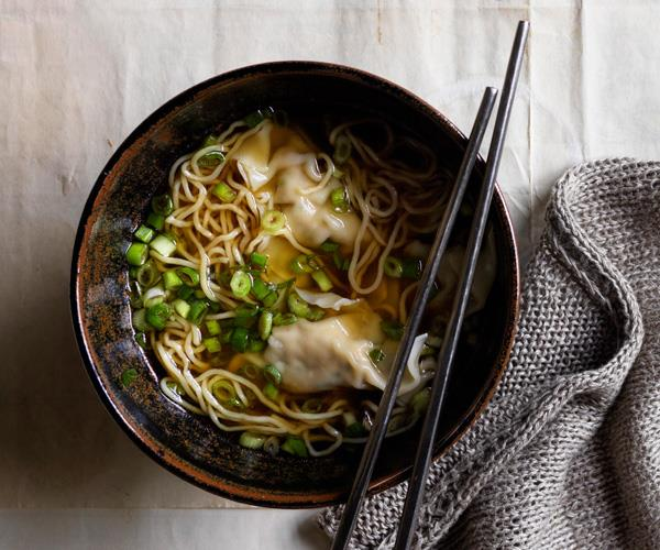 "**[Noodle soup with chicken and chive dumplings](https://www.gourmettraveller.com.au/recipes/browse-all/chicken-dumpling-soup-17594|target=""_blank""