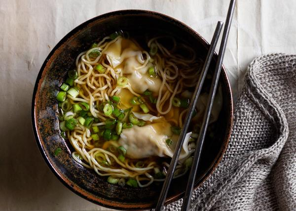 Chicken and chive dumpling soup