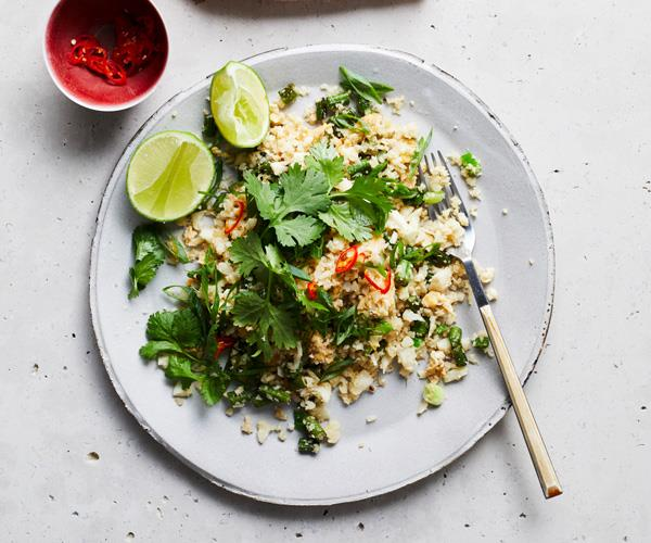 "**[Cauliflower and egg ""fried rice""](https://www.gourmettraveller.com.au/recipes/fast-recipes/cauliflower-rice-17595