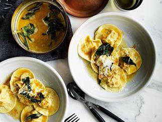 Pumpkin ravioli with sage