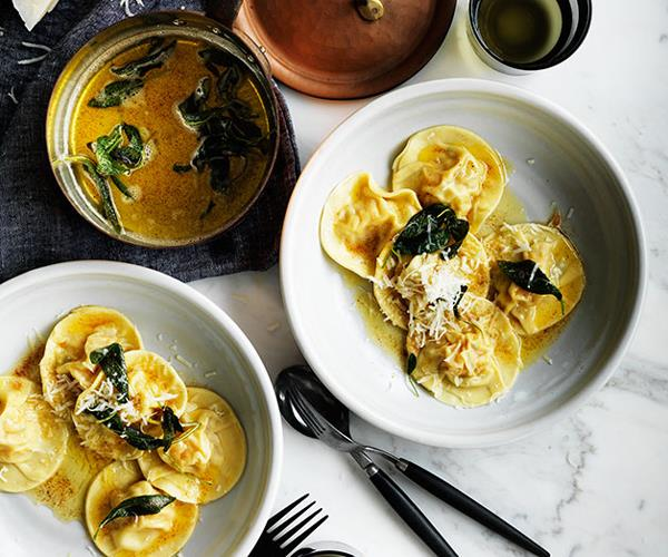 "**[Pumpkin ravioli with sage](https://www.gourmettraveller.com.au/recipes/browse-all/pumpkin-ravioli-with-sage-12321|target=""_blank"")**"
