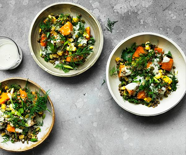"**[Caramelised pumpkin, corn and lentil bowl](https://www.gourmettraveller.com.au/recipes/browse-all/caramelised-pumpkin-corn-and-lentil-bowl-12725|target=""_blank"")**"