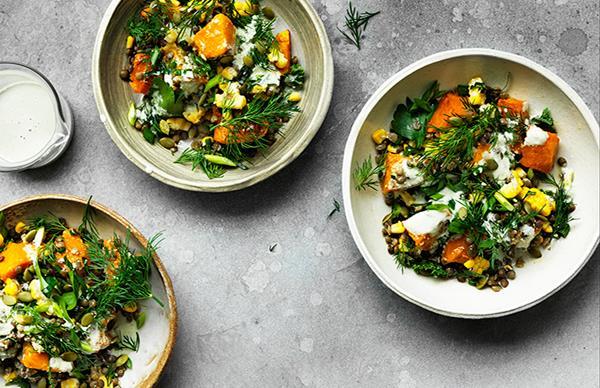 Caramelised pumpkin, corn and lentil bowl