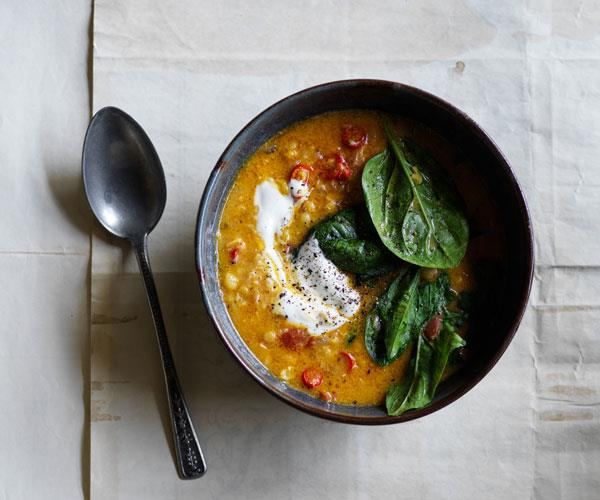 "**[Split pea and coconut soup with yoghurt](https://www.gourmettraveller.com.au/recipes/browse-all/split-pea-coconut-soup-17611|target=""_blank""