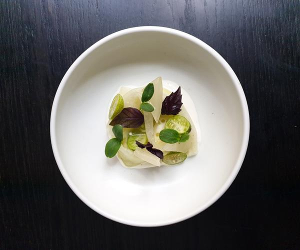 Bentley's apple cucumber, green kohl rabi, walnut and camel's milk curd