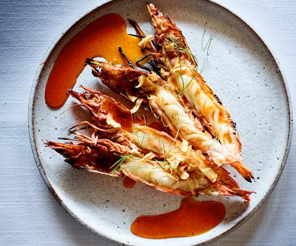 Wood-grilled prawns with fried garlic and chilli oil