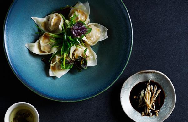 Pork dumplings with black vinegar and ginger