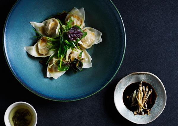 Pork dumplings with black vinegar and ginger