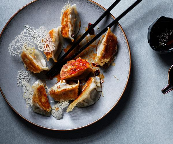 Pot-stickers with chicken, shiitake and chilli sauce
