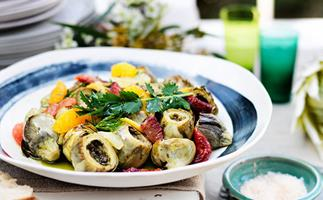 Baked artichokes with citrus and herb salad