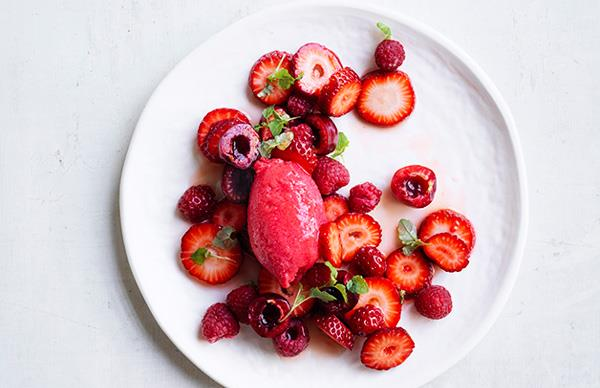 Strawberry, cherry and raspberry salad with raspberry sorbet
