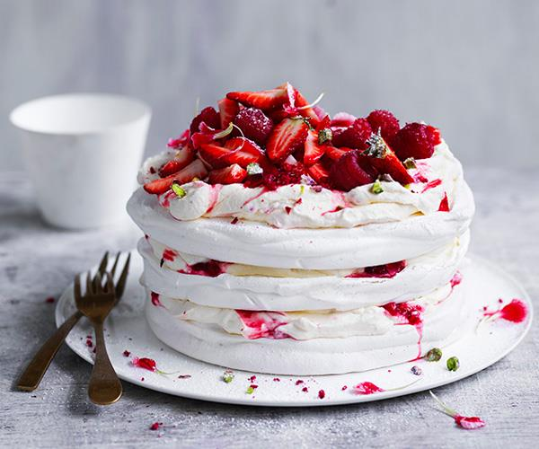 "**[Berry and pistachio stacked pavlova](https://www.gourmettraveller.com.au/recipes/browse-all/berry-and-pistachio-stacked-pavlova-12960|target=""_blank"")**"