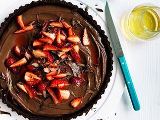 Curtis Stone's dark chocolate and strawberry tart