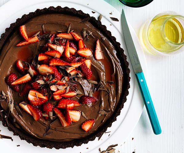 Curtis Stone's dark chocolate and strawberry tart