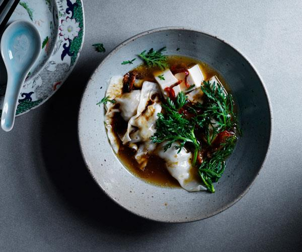 Duck wonton, tofu and chrysanthemum soup