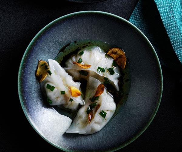"""**[Prawn and scallop har gow with garlic oil](https://www.gourmettraveller.com.au/recipes/browse-all/har-gow-17792