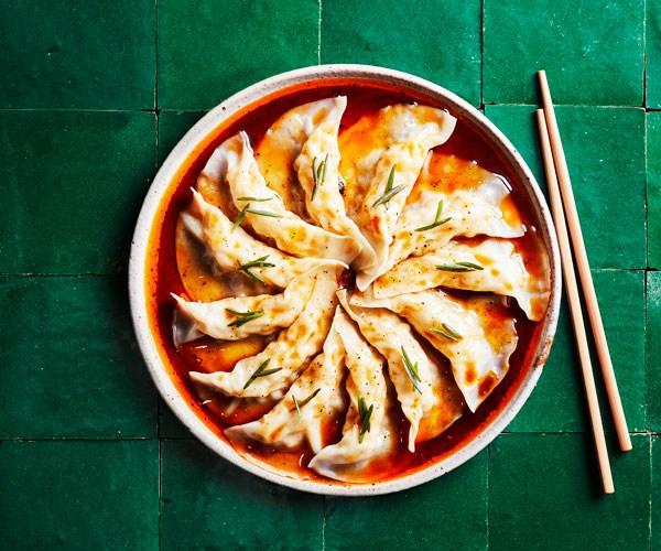 "**[Kylie Kwong's prawn dumplings with organic tamari and chilli dressing](https://www.gourmettraveller.com.au/recipes/chefs-recipes/prawn-dumplings-17794|target=""_blank"")**"