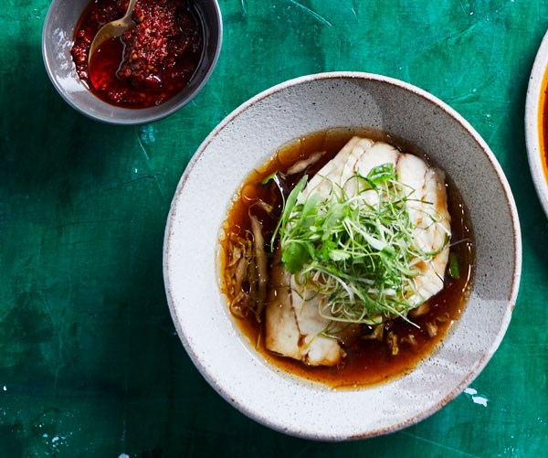 """**[Kylie Kwong's steamed fish fillets with ginger, soy sauce and spring onions](https://www.gourmettraveller.com.au/recipes/chefs-recipes/steamed-fish-ginger-soy-sauce-17795