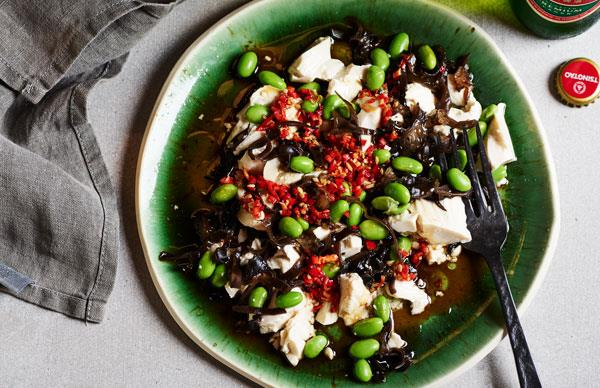 Cloud-ear salad with tofu and soy beans
