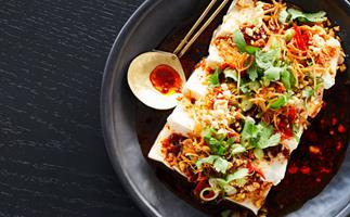 Cold silken tofu with peanuts, salted daikon, coriander and black vinegar