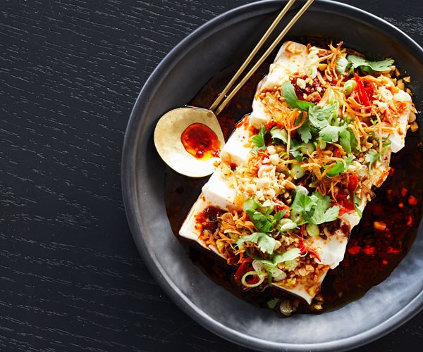 """**[Victor Liong's cold silken tofu with peanuts, salted daikon, coriander and black vinegar](https://www.gourmettraveller.com.au/recipes/chefs-recipes/cold-tofu-peanuts-vinegar-17812