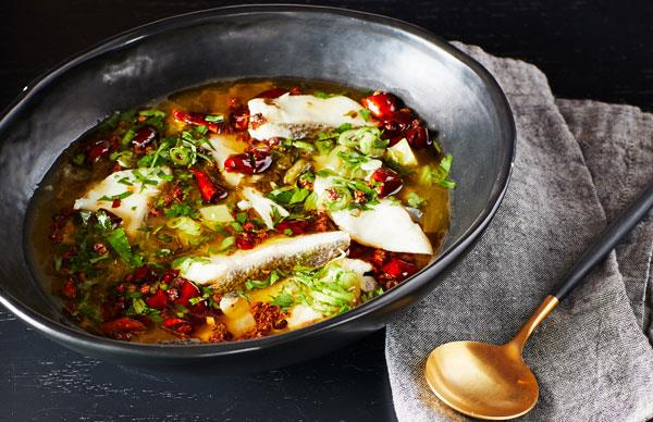 Victor Liong's Sichuan sour and spicy poached fish with pickled mustard greens