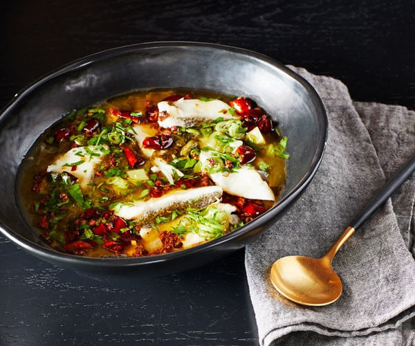 """**[Victor Liong's Sichuan sour and spicy poached fish with pickled mustard greens](https://www.gourmettraveller.com.au/recipes/chefs-recipes/sichuan-poached-fish-17815