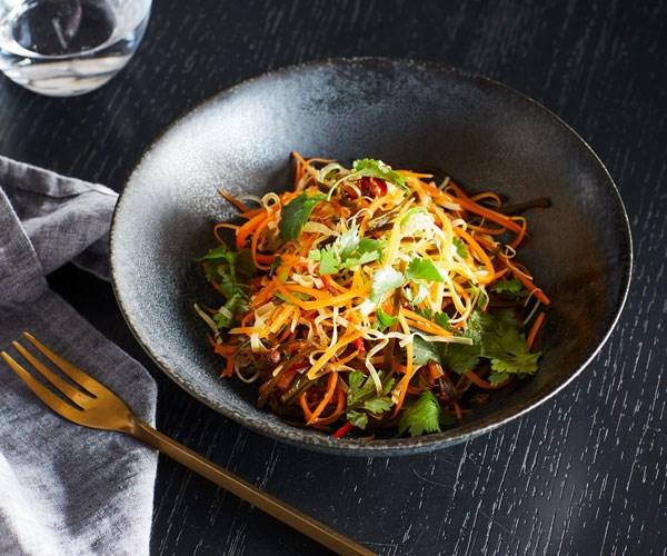 "**[Victor Liong's three sliver salad](https://www.gourmettraveller.com.au/recipes/chefs-recipes/three-sliver-salad-17817|target=""_blank"")**"