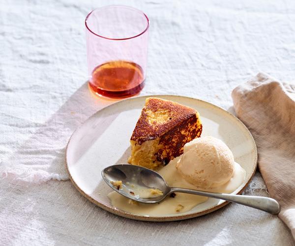 "**[Phil Wood's semolina cake with orange ice-cream and eggnog custard](https://www.gourmettraveller.com.au/recipes/chefs-recipes/semolina-cake-16609|target=""_blank"")**"