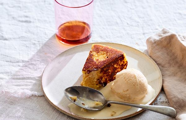 Semolina cake with orange ice-cream and eggnog custard