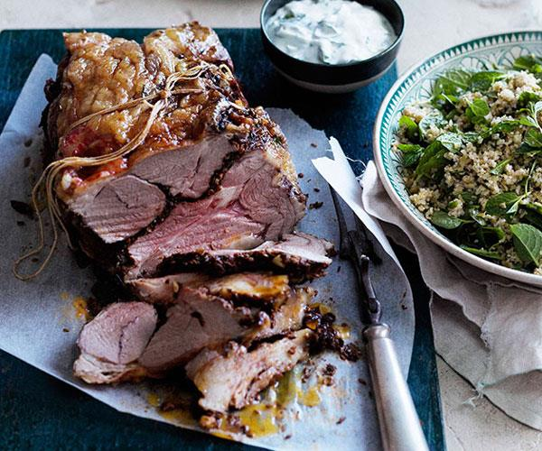 Spring lamb roast with mint yoghurt sauce