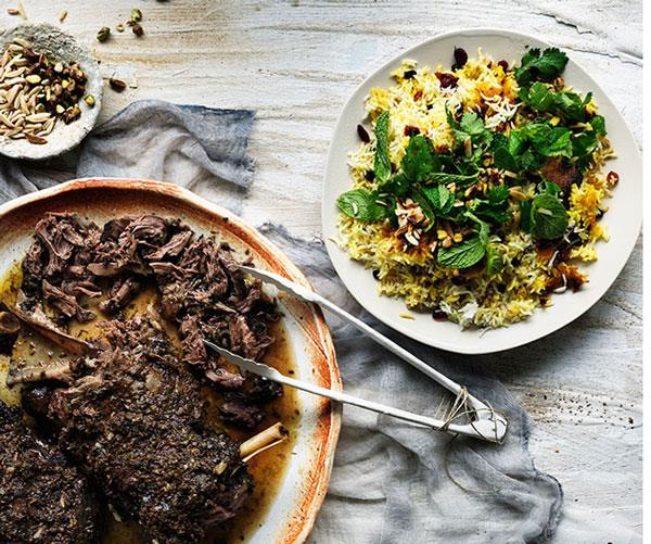 "**[Iranian-style lamb shoulder with cranberry and pistachio spiced rice](https://www.gourmettraveller.com.au/recipes/browse-all/iranian-style-lamb-shoulder-with-cranberry-and-pistachio-spiced-rice-11756|target=""_blank""