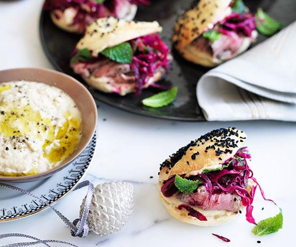 Pide rolls with roast lamb and beetroot