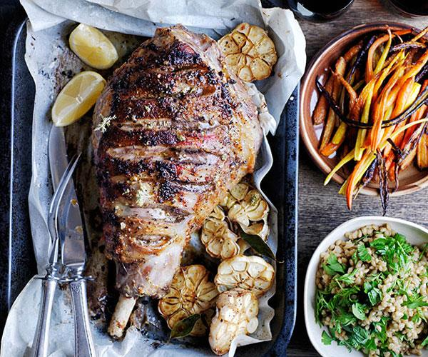 Roast lamb and carrots with buckwheat and carrot-top pilaf