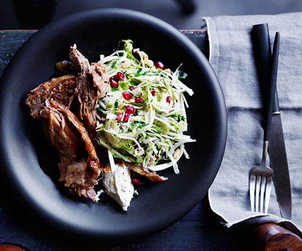 "**[Slow-roasted lamb shoulder with Brussels sprout slaw](https://www.gourmettraveller.com.au/recipes/browse-all/slow-roasted-lamb-shoulder-with-brussels-sprout-slaw-12237|target=""_blank""
