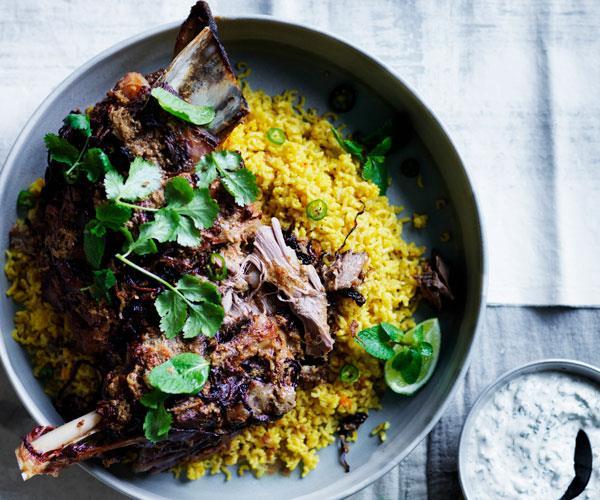 "**[Twelve-hour spiced lamb shoulder with saffron pilaf](https://www.gourmettraveller.com.au/recipes/browse-all/twelve-hour-indian-spiced-lamb-shoulder-with-saffron-pilaf-12580|target=""_blank"")**"