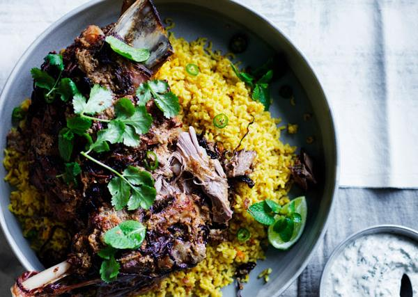 Twelve-hour Indian-spiced lamb shoulder with saffron pilaf