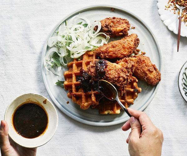 Buttermilk fried chicken with waffles