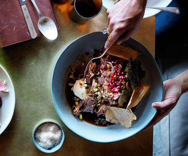 "**[Sean McConnell's slow-roasted lamb shoulder with pistachios, pomegranate and vine leaves](https://www.gourmettraveller.com.au/recipes/chefs-recipes/slow-roasted-lamb-shoulder-with-pistachios-pomegranate-and-vine-leaves-8288|target=""_blank"")**"