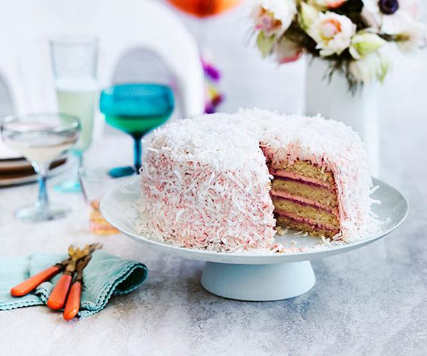Coconut and berry layer cake
