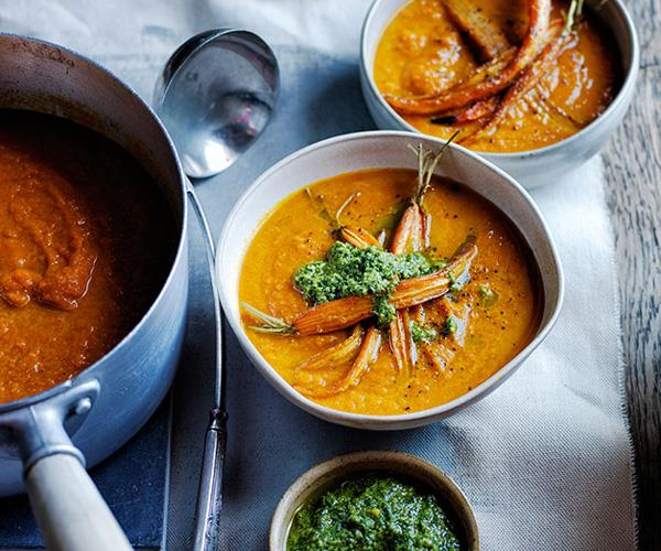 Roast carrot soup with carrot-top pesto