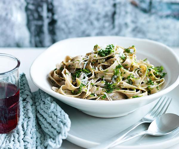 Fettuccine with kale and pecorino pesto