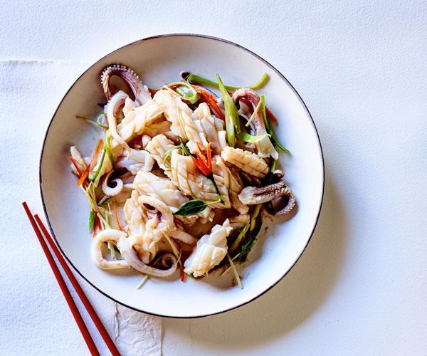 Lau Family Kitchen's calamari with shrimp sauce