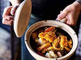 Lau's Family Kitchen's prawns and char siu with vermicelli in a claypot