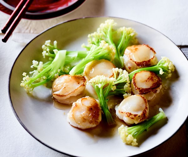 """**[Lau's Family Kitchen's scallops stuffed with prawn mousse](https://www.gourmettraveller.com.au/recipes/chefs-recipes/scallops-prawn-mousse-17839