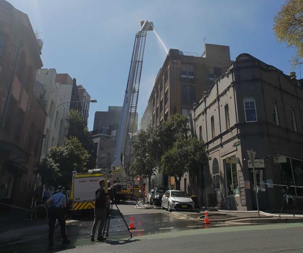 Fire crew respond to a blaze at Sydney's Nomad restaurant.