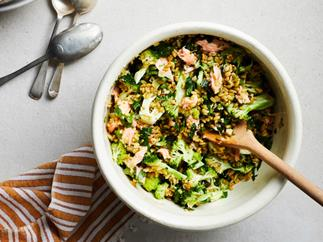 Farro, broccoli and smoked trout salad
