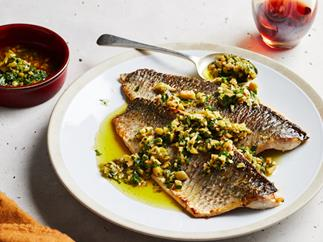 Roasted mullet with olive salsa